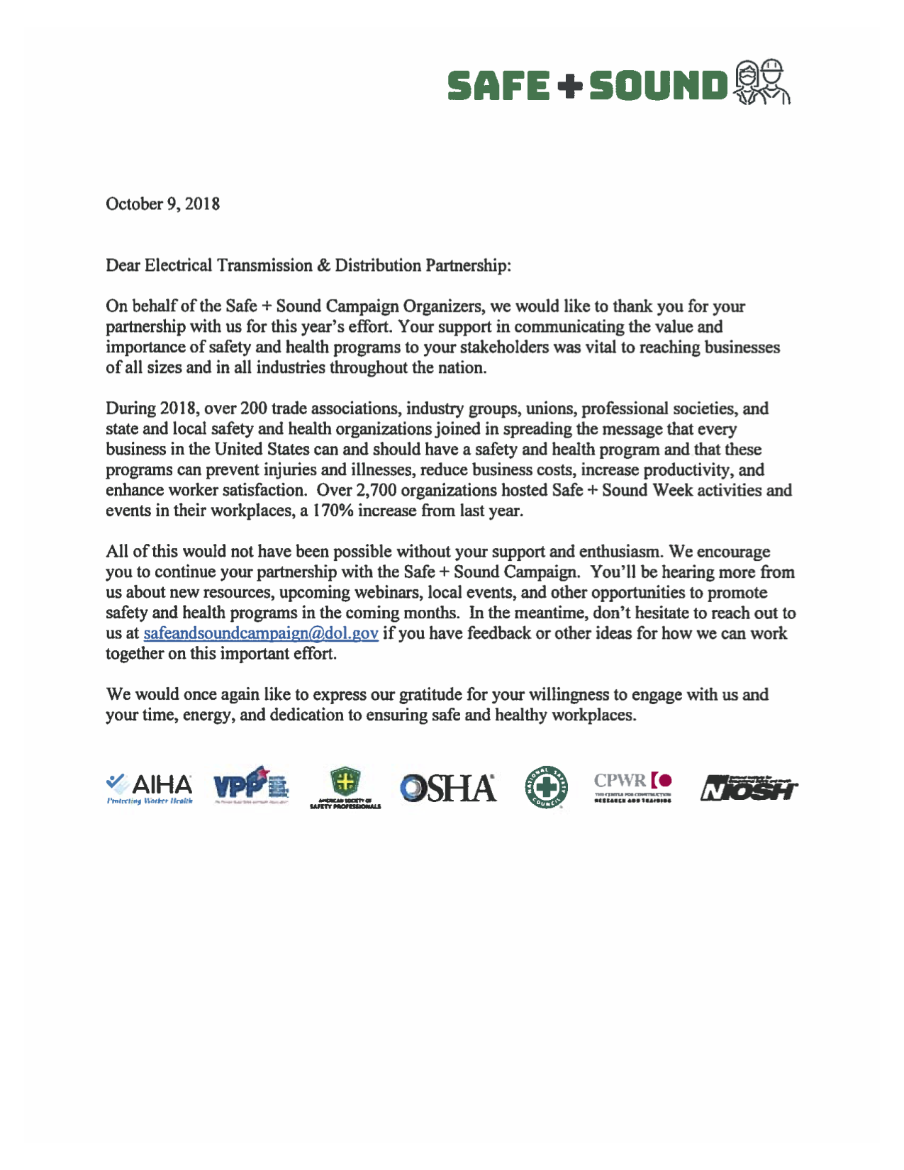 OSHA Safe Sound Week Recogntion 11 2018